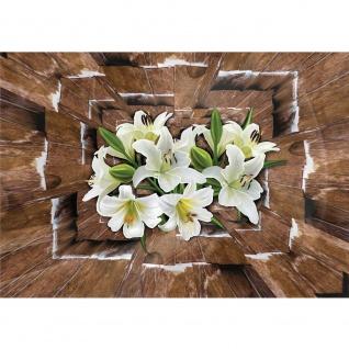 Fototapete Holz Tapete Holzoptik Blumen Blüten Orchideen 3D braun | no. 2300