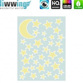 Wandsticker - No. 4838 Wandtattoo Sticker Leuchtsticker Mond Sterne Stars Kinder