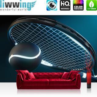 liwwing Vlies Fototapete 312x219cm PREMIUM PLUS Wand Foto Tapete Wand Bild Vliestapete - Sport Tapete Tennis Schläger Tennisball Sport Licht Netz blau - no. 1956