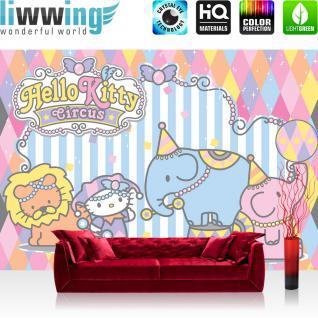 liwwing Vlies Fototapete 300x210 cm PREMIUM PLUS Wand Foto Tapete Wand Bild Vliestapete - Mädchen Tapete Hello Kitty - Kindertapete Cartoon Katze Löwe Elefant Zirkus blau - no. 519