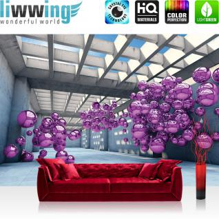liwwing Vlies Fototapete 208x146cm PREMIUM PLUS Wand Foto Tapete Wand Bild Vliestapete - Architektur Tapete Arkaden Seifenblasen Kugeln bunt - no. 3246