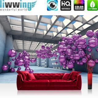 liwwing Vlies Fototapete 254x184cm PREMIUM PLUS Wand Foto Tapete Wand Bild Vliestapete - Architektur Tapete Arkaden Seifenblasen Kugeln bunt - no. 3246