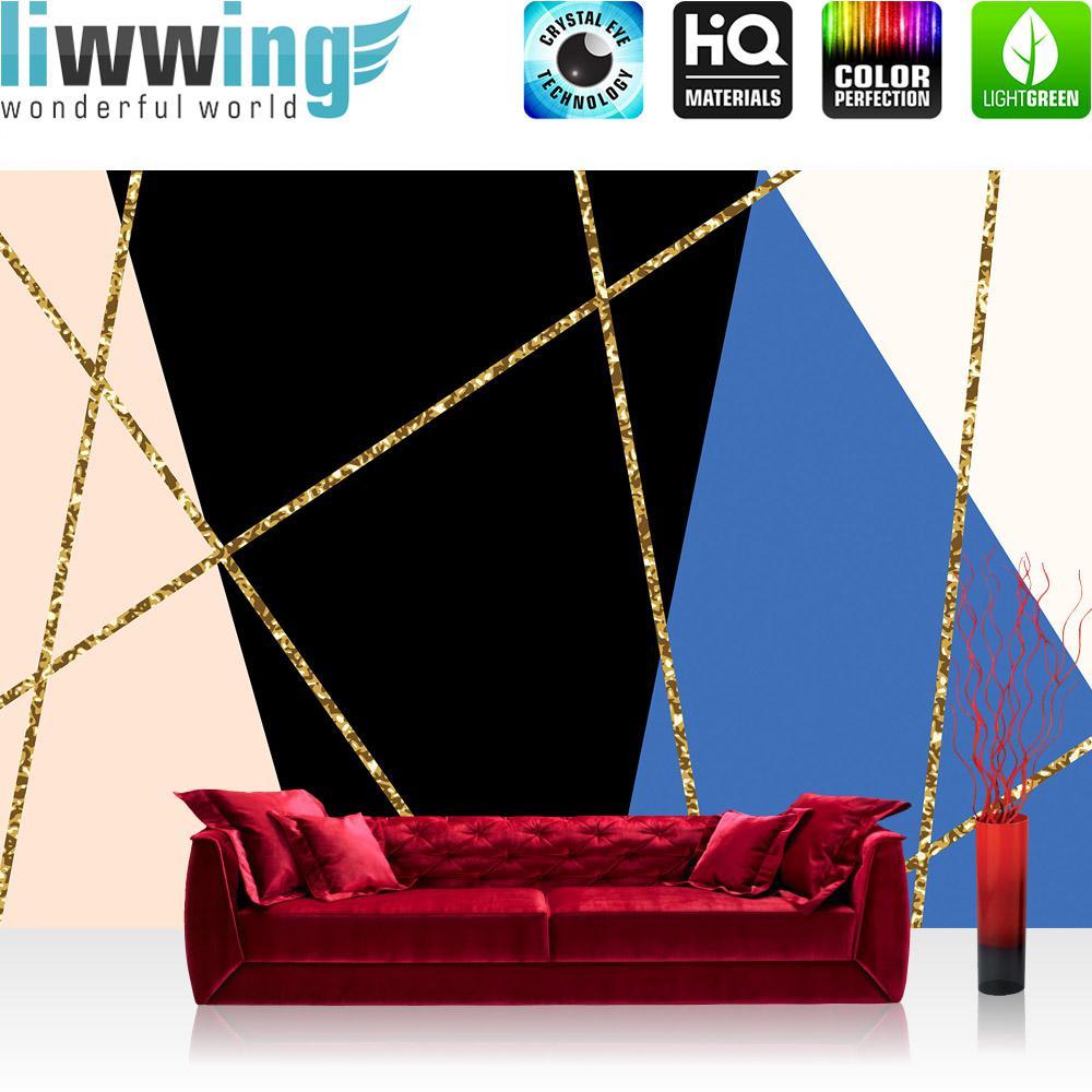 Liwwing Vlies Fototapete 416x254cm PREMIUM PLUS Wand Foto Tapete Wand Bild Vliestapete - Texturen Tapete Dreiecke Polygone Retro Sixties bunt - no. 3485