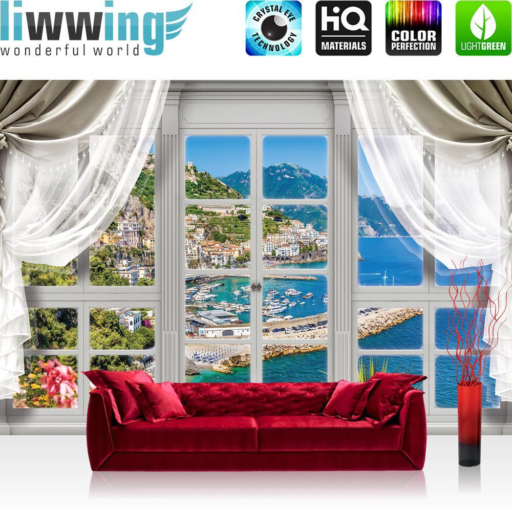 Liwwing Vlies Fototapete 152.5x104cm PREMIUM PLUS Wand Foto Tapete Wand Bild Vliestapete - Meer Tapete Mittelmeer Hafen Yachten Fenster natural - no. 3400