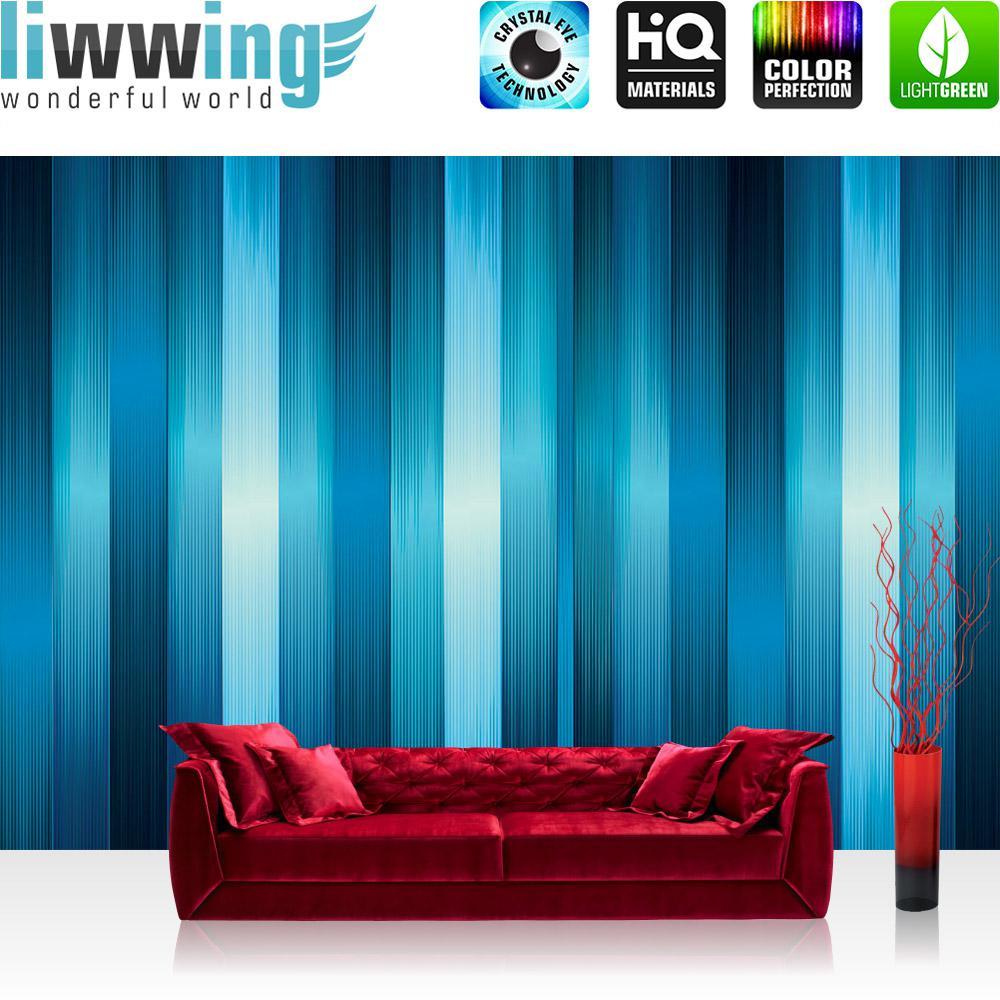 Liwwing Vlies Fototapete 368x254cm PREMIUM PLUS Wand Foto Tapete Wand Bild Vliestapete - Kunst Tapete Streifen senkrecht blau - no. 3552