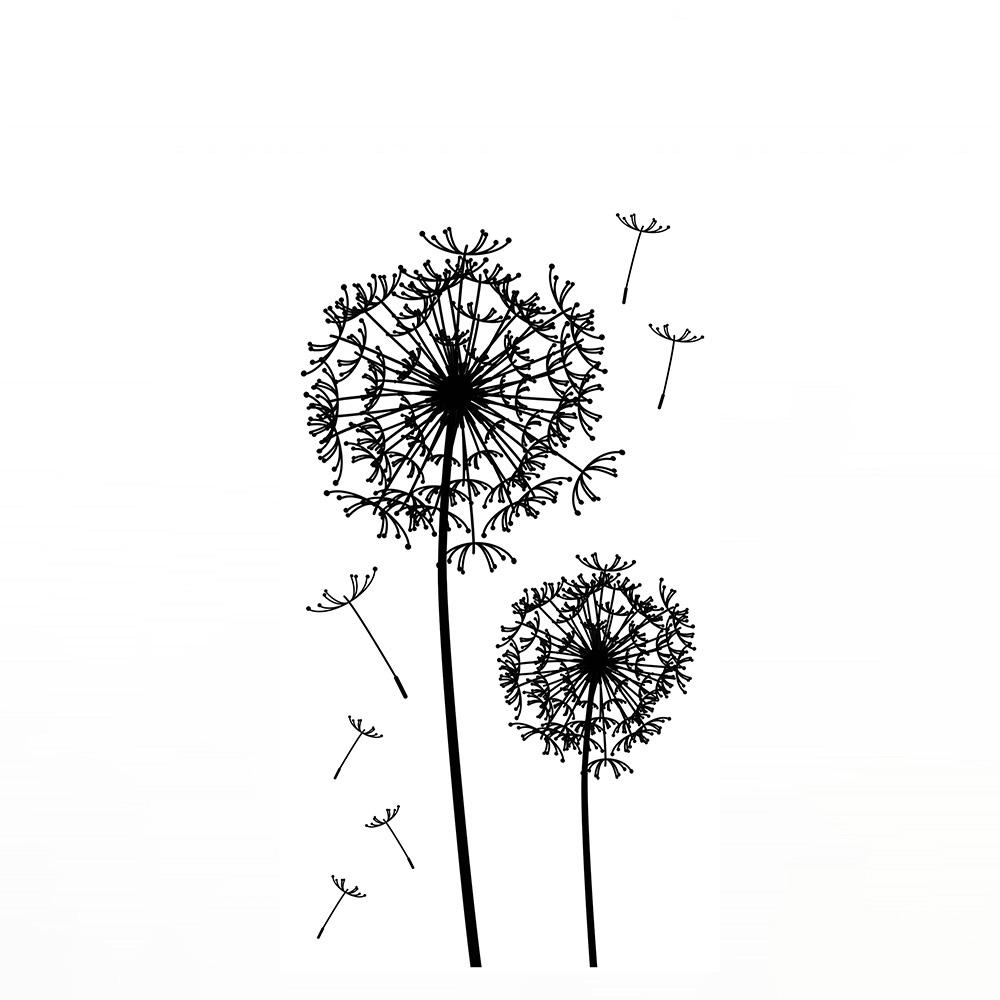 Wandsticker - No. 4654 Wandtattoo Sticker Wohnzimmer Pusteblume Schwarz  Weiß Dandelion Sommer Frühling