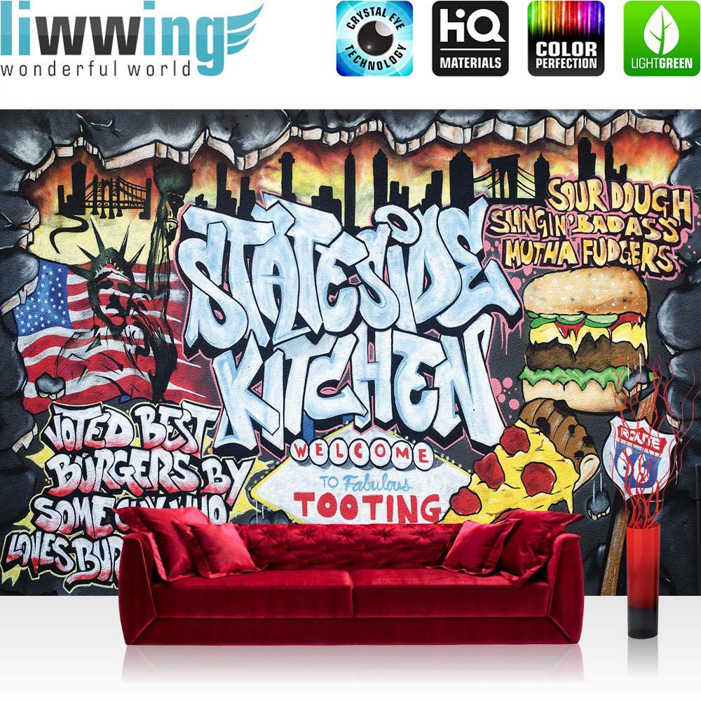 Liwwing Vlies Fototapete 300x210 cm PREMIUM PLUS Wand Foto Tapete Wand Bild Vliestapete - Graffiti Tapete Kindertapete Graffiti Schriftzug USA bunt - no. 600