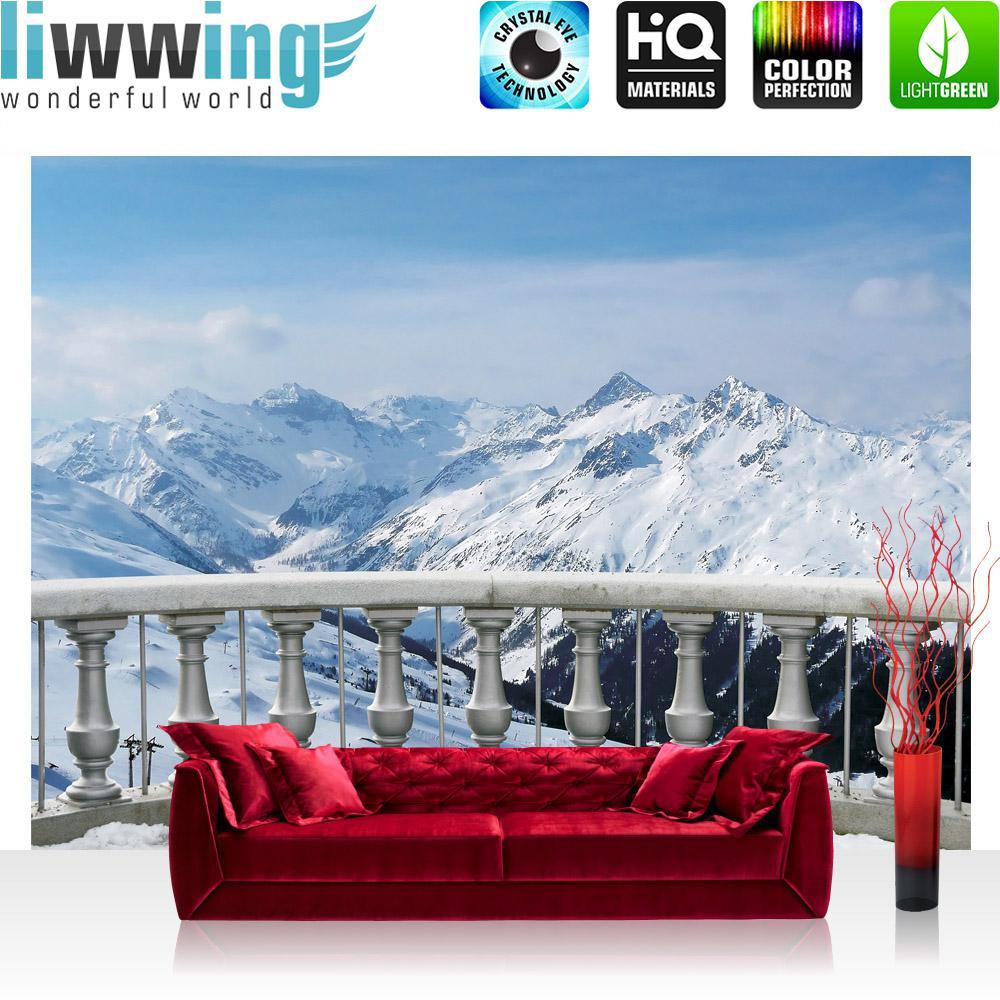 Liwwing Vlies Fototapete 416x254cm PREMIUM PLUS Wand Foto Tapete Wand Bild Vliestapete - Landschaft Tapete Alpen Schnee Balkon Winter blau - no. 2853