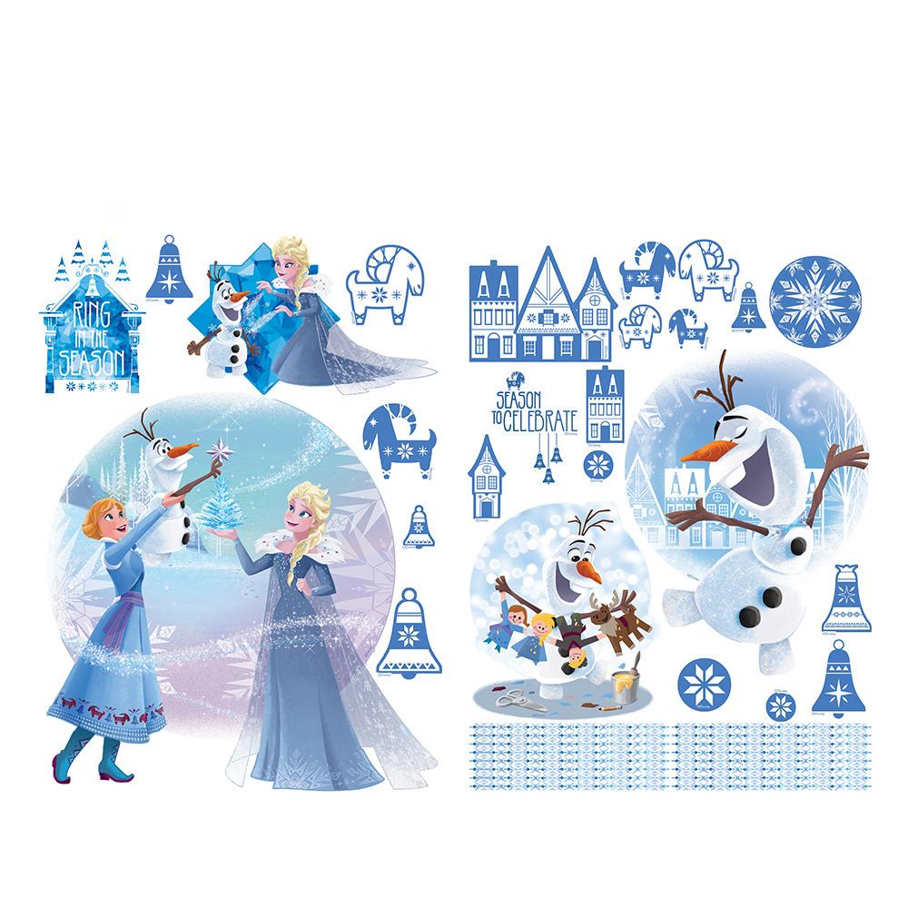 Wandsticker Disney Frozen - No. 4852 Wandtattoo Sticker Eiskönigin Olaf  Anna & Elsa Kindersticker Mädchen