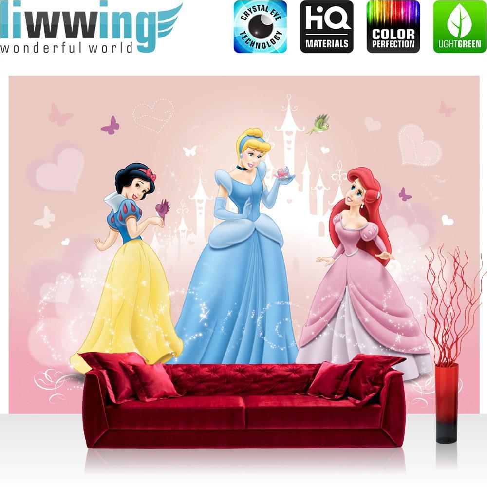 Liwwing Fototapete 254x168 cm PREMIUM Wand Foto Tapete Wand Bild Papiertapete - Disney Tapete Cinderella Schneewittchen Arielle Jasmine Aurora bunt - no. 1299