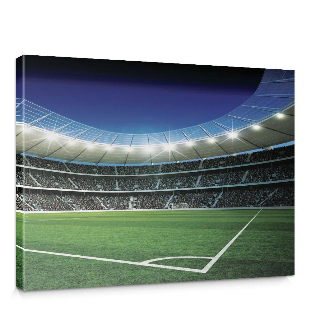 Leinwandbild Fussballstadion Eckpunkt Flutlicht Rasen Tor Tribune Fans Lichter Sterne Nacht No 945