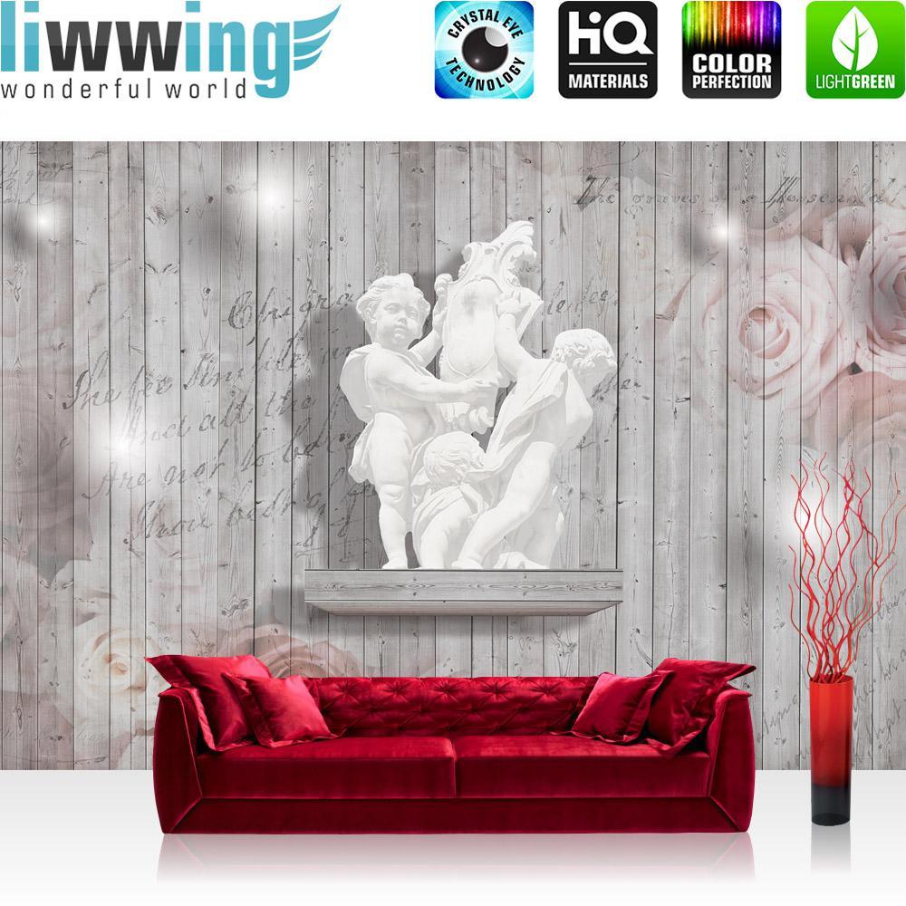 Liwwing Vlies Fototapete 416x254cm PREMIUM PLUS Wand Foto Tapete Wand Bild Vliestapete - Illustrationen Tapete Illustration Blaumen Vektorgrafik rot - no. 2526