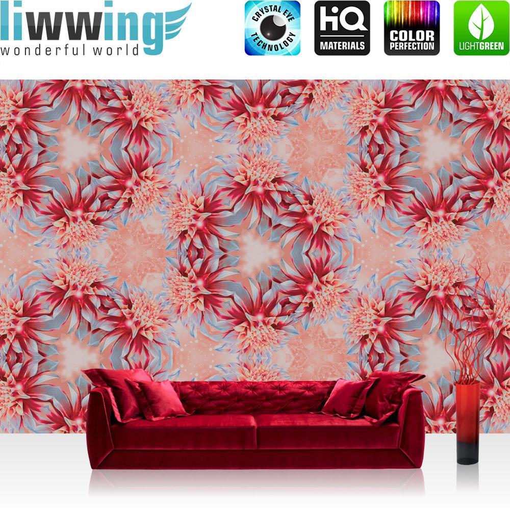 Liwwing Vlies Fototapete 416x254cm PREMIUM PLUS Wand Foto Tapete Wand Bild Vliestapete - Blaumen Tapete Blaume Blüten Kreise Kranz rot - no. 1546