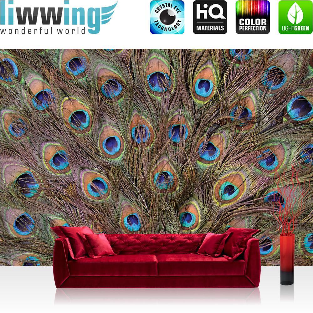 Liwwing Vlies Fototapete 416x254cm PREMIUM PLUS Wand Foto Tapete Wand Bild Vliestapete - Tiere Tapete Pfau Auge Feder Schwanz Schweif Tier Glück blau - no. 1445
