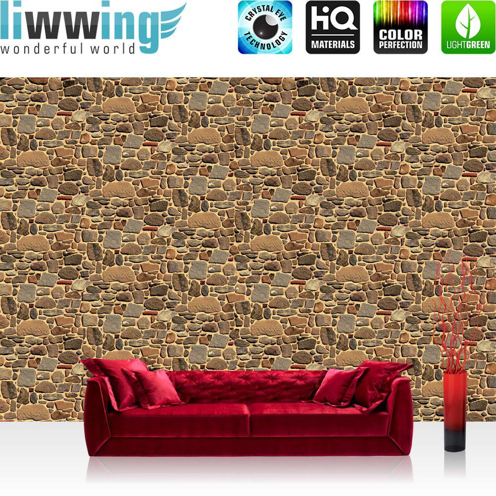 Liwwing Vlies Fototapete 416x254cm PREMIUM PLUS Wand Foto Tapete Wand Bild Vliestapete - Steinwand Tapete Steine Steinwand Steinoptik braun - no. 2559