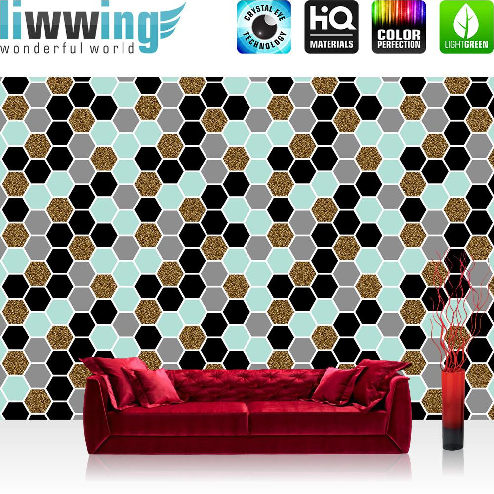 Liwwing Vlies Fototapete 152.5x104cm PREMIUM PLUS Wand Foto Tapete Wand Bild Vliestapete - Texturen Tapete Polygone Sechsecke Hexagon bunt - no. 3462