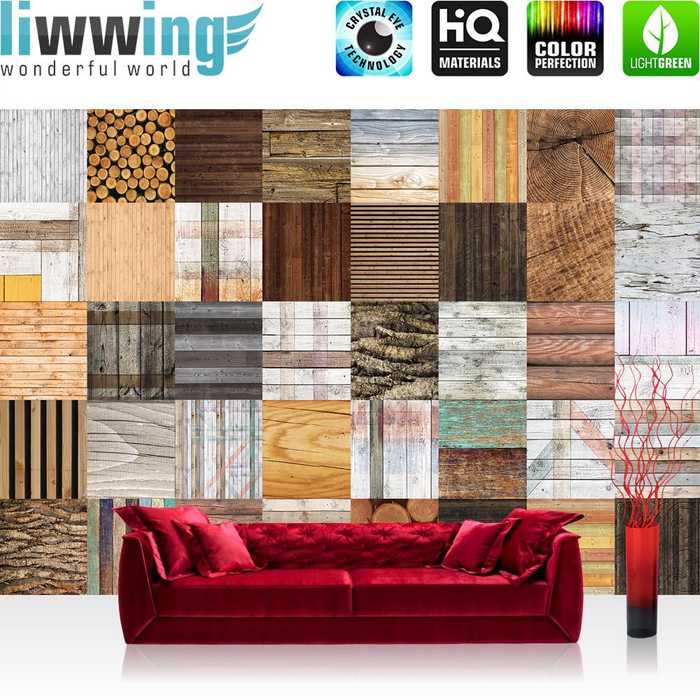 Liwwing Fototapete 254x168 Cm PREMIUM Wand Foto Tapete Wand Bild  Papiertapete   Holz Tapete Holzoptik Kacheln ...