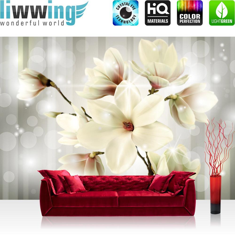 Liwwing Vlies Fototapete 152.5x104cm PREMIUM PLUS Wand Foto Tapete Wand Bild Vliestapete - Blaumen Tapete Magnolia Blaume Natur grau - no. 1284