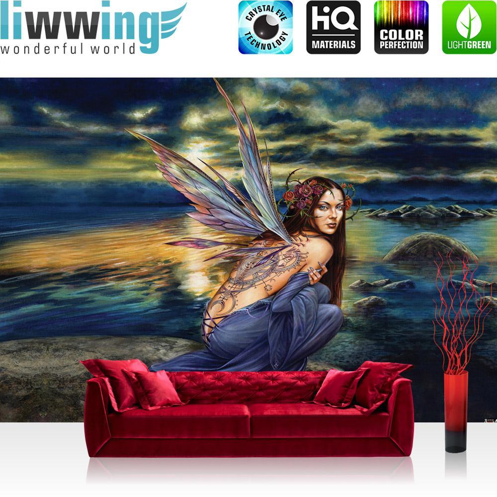 Liwwing Vlies Fototapete 200x140 cm PREMIUM PLUS Wand Foto Tapete Wand Bild Vliestapete - Kindertapete Tapete Dinosaurier Strand Palmen Animation grün - no. 445