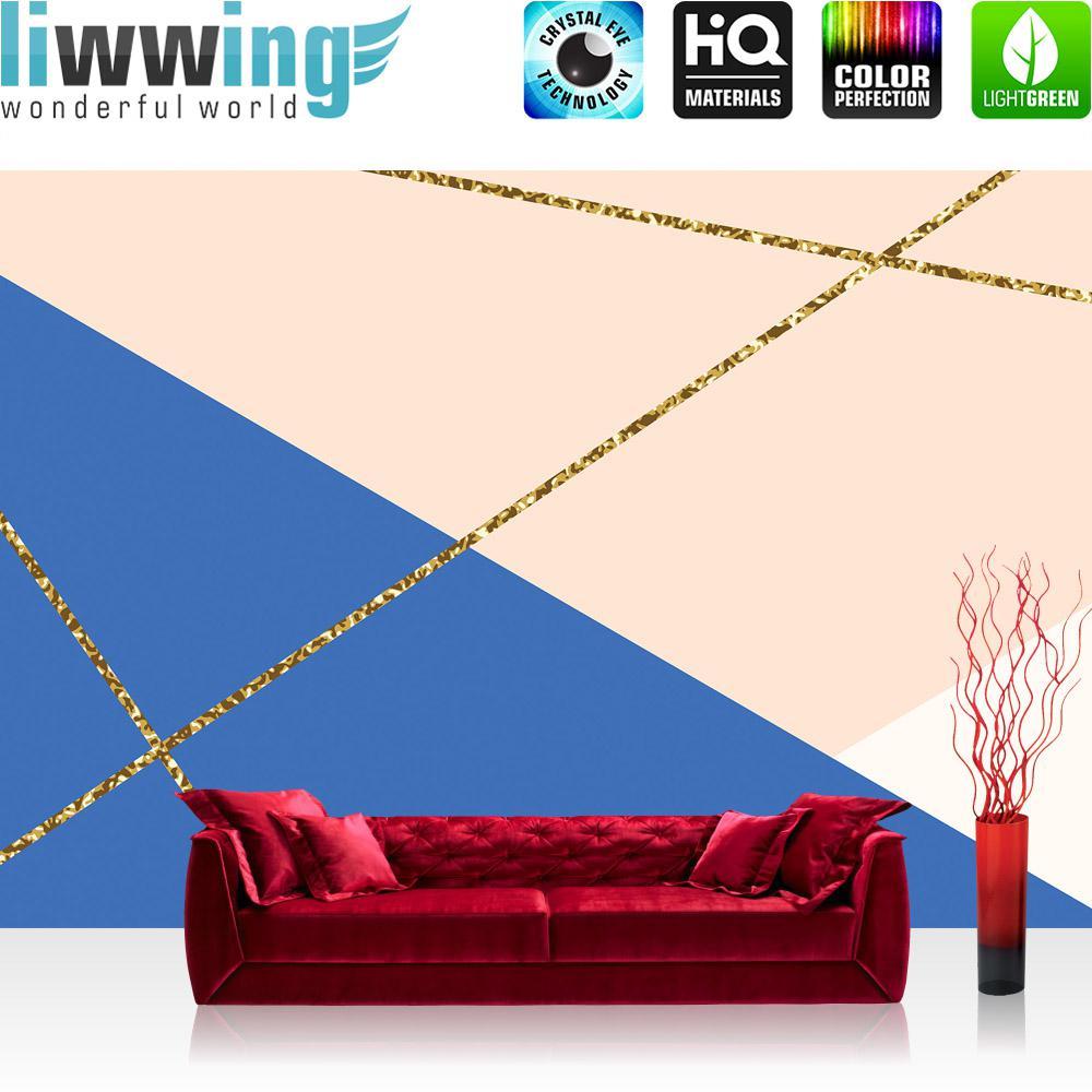 Liwwing Vlies Fototapete 416x254cm PREMIUM PLUS Wand Foto Tapete Wand Bild Vliestapete - Texturen Tapete Dreiecke Polygone Retro Sixties bunt - no. 3486