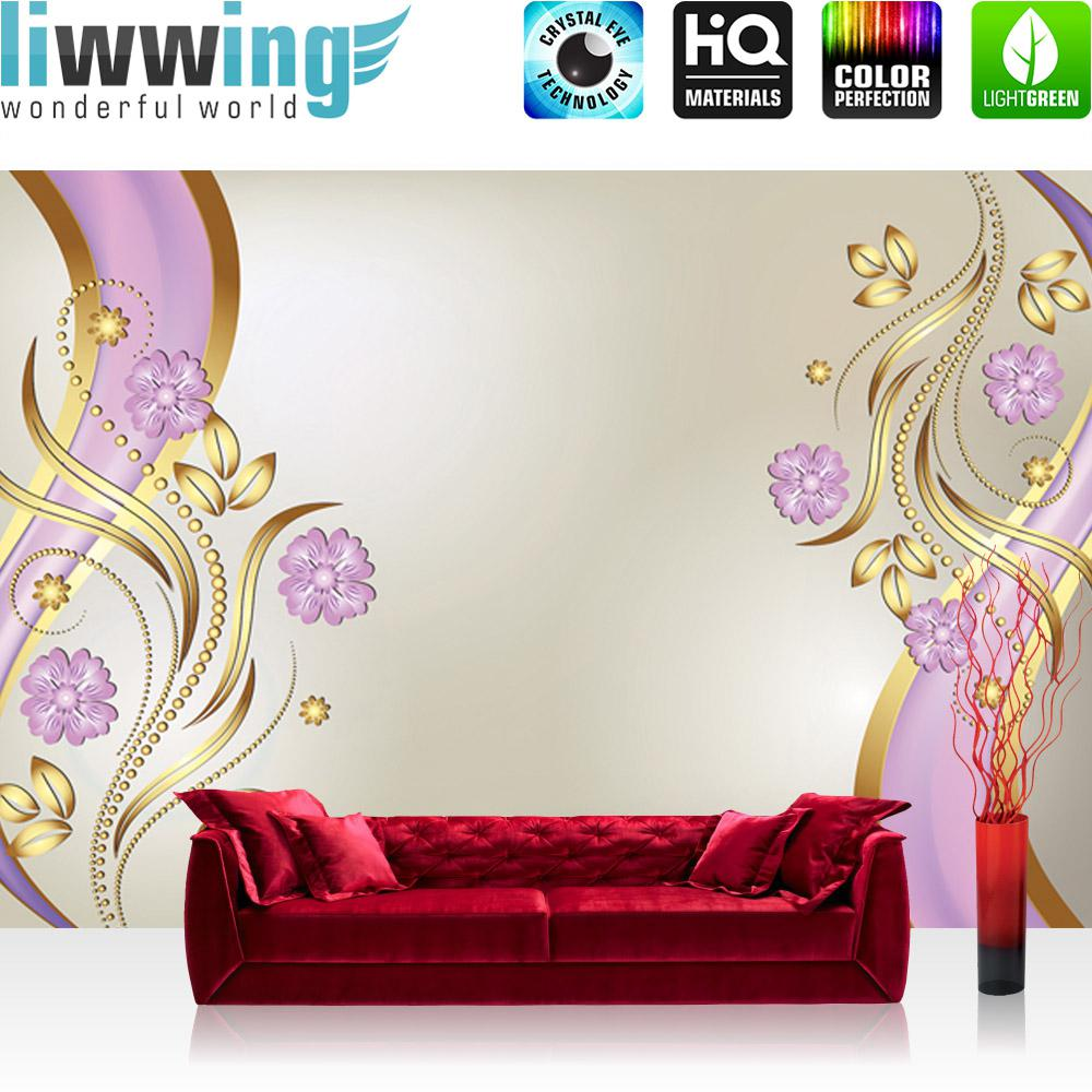 Liwwing Vlies Fototapete 152.5x104cm PREMIUM PLUS Wand Foto Tapete Wand Bild Vliestapete - Ornamente Tapete Blaume Blüten Blätter Punkte beige - no. 1625