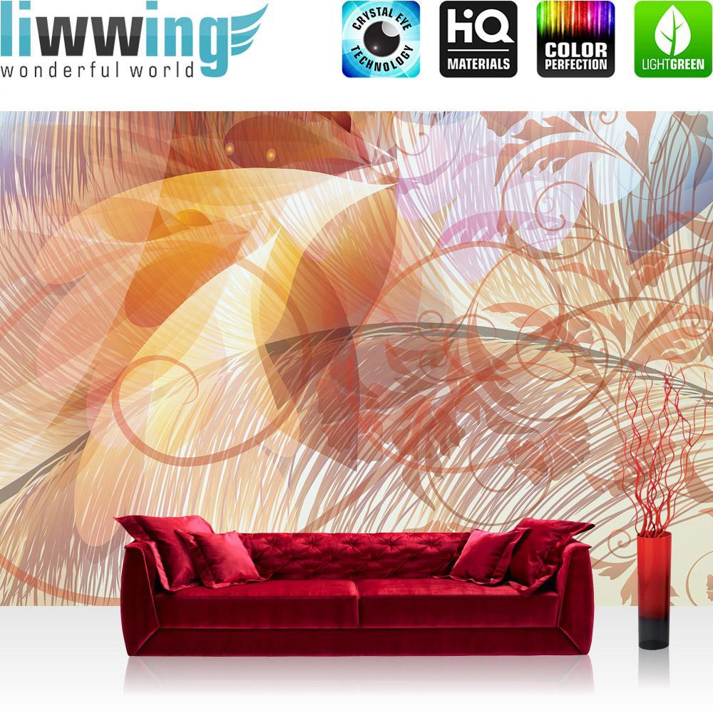 Liwwing Vlies Fototapete 416x254cm PREMIUM PLUS Wand Foto Tapete Wand Bild Vliestapete - Ornamente Tapete Ranke Palme Blätter Schnörkel Rosa - no. 2440