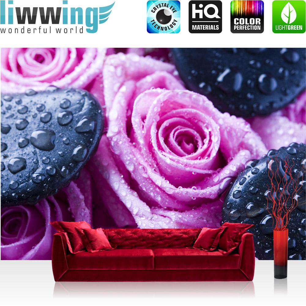 Liwwing Vlies Fototapete 152.5x104cm PREMIUM PLUS Wand Foto Tapete Wand Bild Vliestapete - Blaumen Tapete Steine Rosan Wasser Tropfen Blüten Rosa - no. 1608