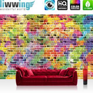 liwwing Fototapete 254x168 cm PREMIUM Wand Foto Tapete Wand Bild Papiertapete - Steinwand Tapete Steine Steinoptik Farben bunt - no. 2164
