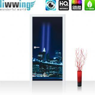 liwwing Vlies Türtapete 91x211 cm PREMIUM PLUS Tür Fototapete Türposter Türpanel Foto Tapete Bild - Skyline Bridge Night Lightning - no. 329