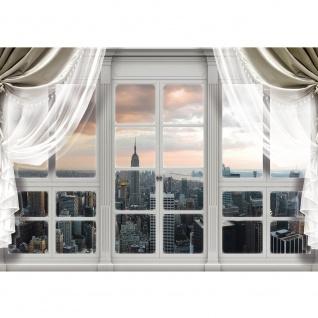Fototapete New York Tapete Skyline, Fenster, Empire State Building, Hudson River natural | no. 3396