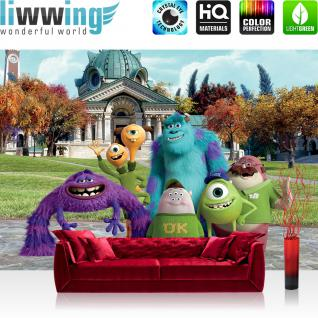 liwwing Vlies Fototapete 416x254cm PREMIUM PLUS Wand Foto Tapete Wand Bild Vliestapete - Disney Tapete Monster Uni Monster AG Glotzkowski Sullivan Kindertapete bunt - no. 1439