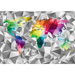 Fototapete Städte & Länder Tapete Design Modern Karte Landkarte Welt Bunte Geometrie bunt | no. 4409