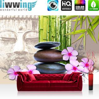 liwwing Vlies Fototapete 152.5x104cm PREMIUM PLUS Wand Foto Tapete Wand Bild Vliestapete - Wellness Tapete Buddha Bambus Steine Blüte bunt - no. 290