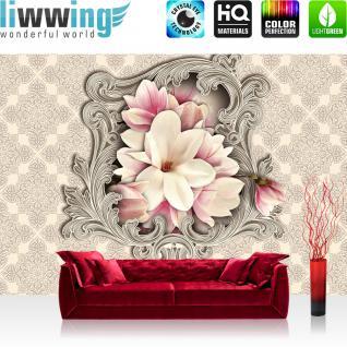 liwwing Vlies Fototapete 208x146cm PREMIUM PLUS Wand Foto Tapete Wand Bild Vliestapete - Blumen Tapete Magnolia Pflanze Natur Ornamente beige - no. 2903