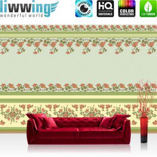 liwwing Vlies Fototapete 312x219cm PREMIUM PLUS Wand Foto Tapete Wand Bild Vliestapete - Illustrationen Tapete Blumen Natur Kunst Tapete Bordüre Blätter beige - no. 1261