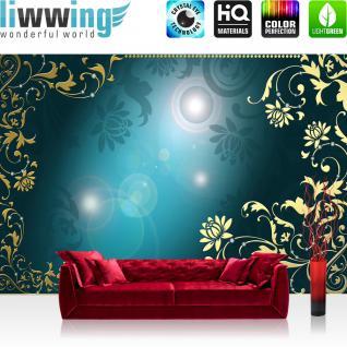 liwwing Vlies Fototapete 400x280 cm PREMIUM PLUS Wand Foto Tapete Wand Bild Vliestapete - Ornamente Tapete Diamant Blüten Ranke Schnörkel blau - no. 820