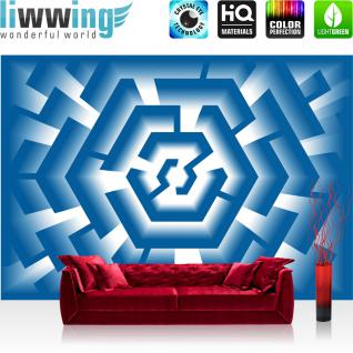 liwwing Vlies Fototapete 416x254cm PREMIUM PLUS Wand Foto Tapete Wand Bild Vliestapete - Illustrationen Tapete Illustration Muster Geometrie Design Kunst blau - no. 2968