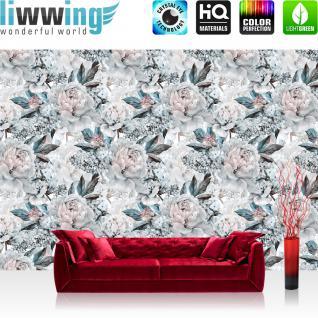 liwwing Vlies Fototapete 416x254cm PREMIUM PLUS Wand Foto Tapete Wand Bild Vliestapete - Blumen Tapete Rosen Blüten Natur weiß - no. 3551