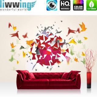 liwwing Vlies Fototapete 300x210 cm PREMIUM PLUS Wand Foto Tapete Wand Bild Vliestapete - Kunst Tapete Origami Japan Vögel Modern Art weiß - no. 609