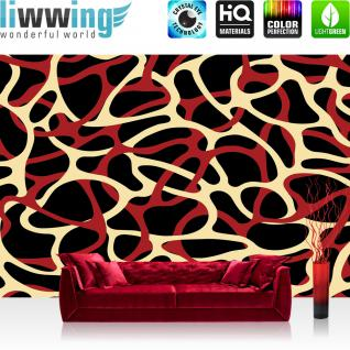 liwwing Vlies Fototapete 350x245 cm PREMIUM PLUS Wand Foto Tapete Wand Bild Vliestapete - Illustrationen Tapete Abstrakt Ornamente Geflechte Muster Retro Achtziger rot - no. 1032