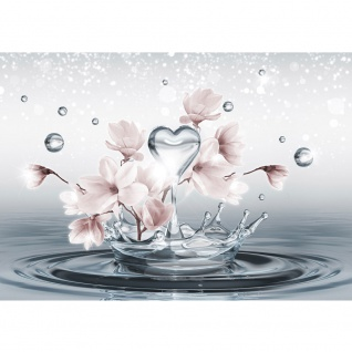 Fototapete Wasser Tapete Tropfen Blume Blüte Herz Liebe Welle Sterne grau | no. 1411