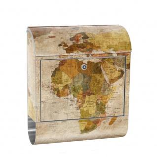 Edelstahl Wandbriefkasten XXL mit Motiv & Zeitungsrolle | Weltkarte Antik Atlaskarte alte Karte Atlas | no. 0029