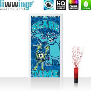 liwwing Türtapete selbstklebend 91x211 cm PREMIUM PLUS Tür Fototapete Türposter Türpanel Foto Tapete Bild - DISNEY/Pixar Die Monster Uni Kindertapete Cartoon Monster - no. 1058