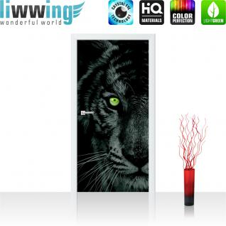 liwwing Türtapete selbstklebend 91x211 cm PREMIUM PLUS Tür Fototapete Türposter Türpanel Foto Tapete Bild - Tiger Gesicht Auge - no. 425