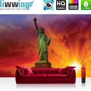 liwwing Vlies Fototapete 312x219cm PREMIUM PLUS Wand Foto Tapete Wand Bild Vliestapete - USA Tapete Freiheitsstatue Sonne Wolken Statue Amerika orange - no. 1454