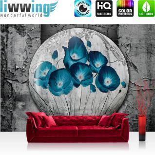 liwwing Vlies Fototapete 416x254cm PREMIUM PLUS Wand Foto Tapete Wand Bild Vliestapete - 3D Tapete Ölmalerei Kunst Wand Blumen Natur Malerei Holz grau - no. 1642