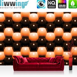 liwwing Vlies Fototapete 400x280 cm PREMIUM PLUS Wand Foto Tapete Wand Bild Vliestapete - Illustrationen Tapete Abstrakt Kugeln Mauer Retro Achtziger orange - no. 1043