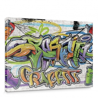 Leinwandbild Kinder Graffiti Dosen Sprayer bunt | no. 341