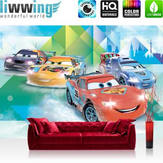 liwwing Vlies Fototapete 208x146cm PREMIUM PLUS Wand Foto Tapete Wand Bild Vliestapete - Cartoon Tapete Disney Cars Pixar Cars Kindertapete Lightning McQueen bunt - no. 2151
