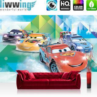 liwwing Vlies Fototapete 312x219cm PREMIUM PLUS Wand Foto Tapete Wand Bild Vliestapete - Cartoon Tapete Disney Cars Pixar Cars Kindertapete Lightning McQueen bunt - no. 2151